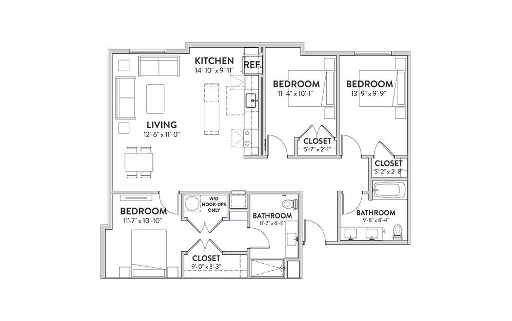 The Willie Three Bedroom Floorplan