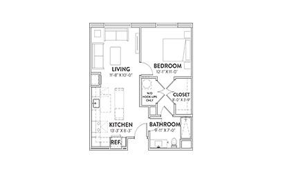The Pennybacker One Bedroom Floorplan