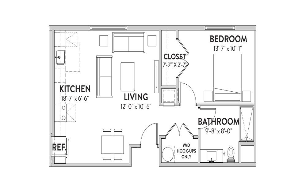 The Lady Bird One Bedroom Floorplan