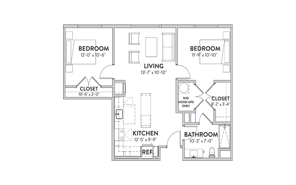 The Zilker Two Bedroom Floorplan