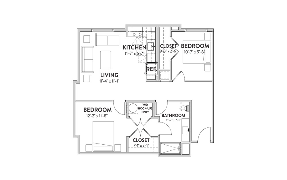 The Paramount Two Beddroom Floorplan