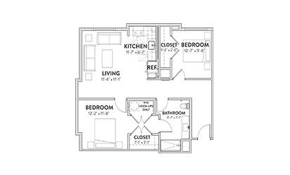 The Paramount Two Beddroom Floorplan