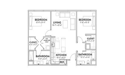 The Driskill Two Beddroom Floorplan
