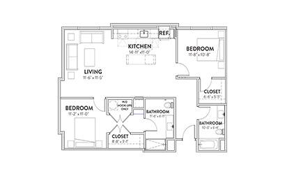 The Continental Two Beddroom Floorplan