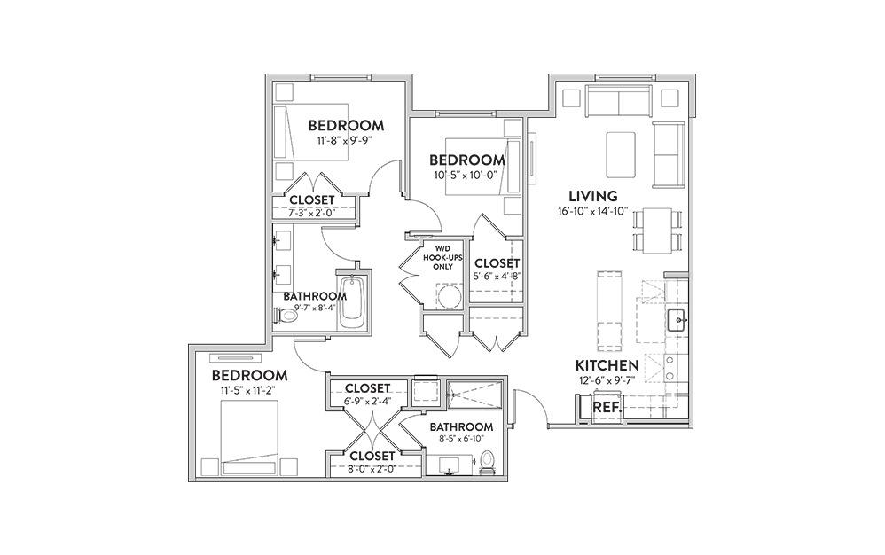 The Moon Tower Three Bedroom Floorplan