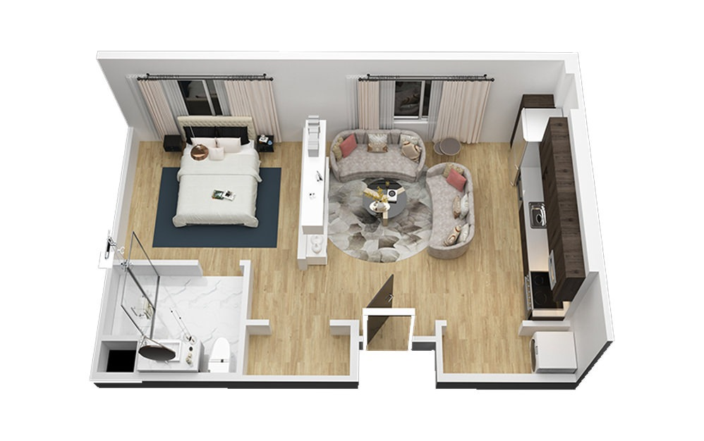 The Armadillo - Studio floorplan layout with 1 bath and 610 square feet (1st floor 2D)