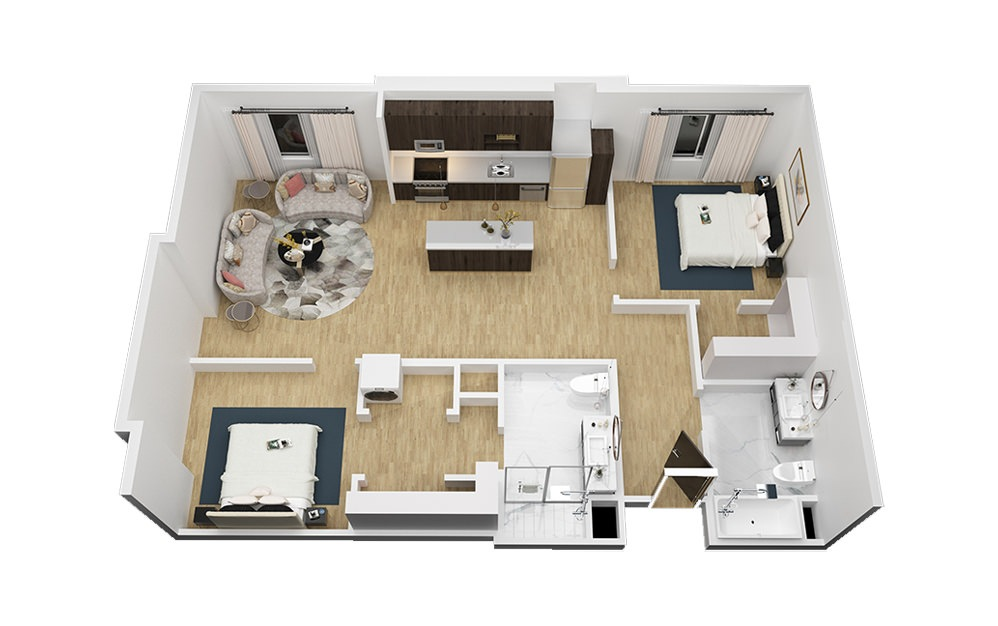 The Continental - 2 bedroom floorplan layout with 2 bath and 1132 square feet (1st floor 2D)