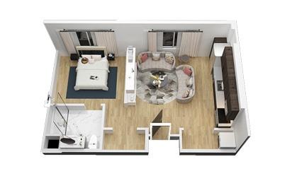 The Armadillo - Studio floorplan layout with 1 bath and 610 square feet