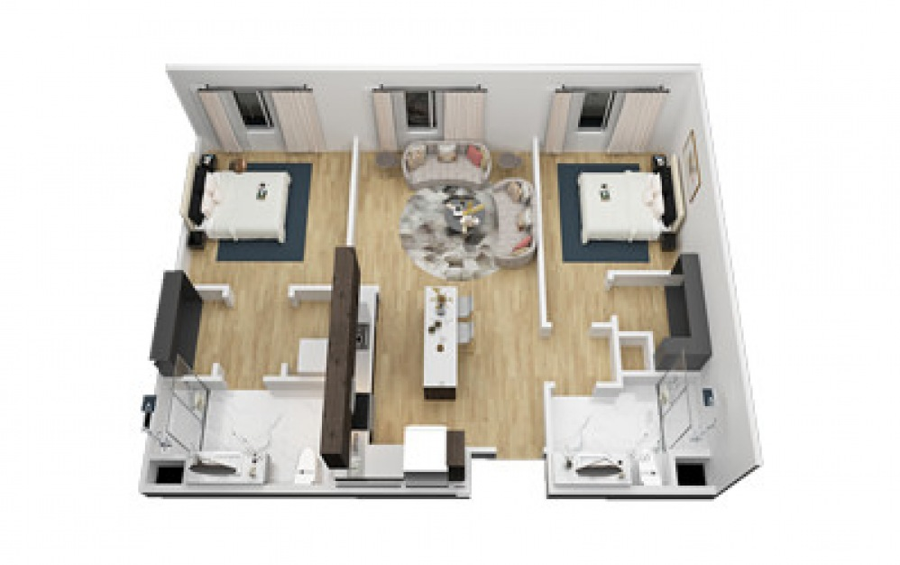 The Driskill - 2 bedroom floorplan layout with 2 bath and 1036 square feet (1st floor 2D)