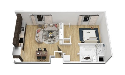 The Lady Bird - 1 bedroom floorplan layout with 1 bath and 732 square feet