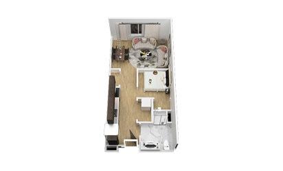 The Nighthawk - Studio floorplan layout with 1 bath and 550 square feet