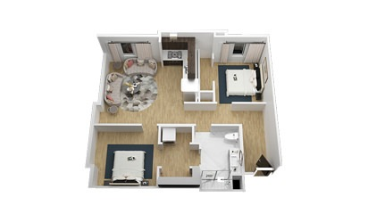 The Paramount - 2 bedroom floorplan layout with 1 bath and 906 square feet