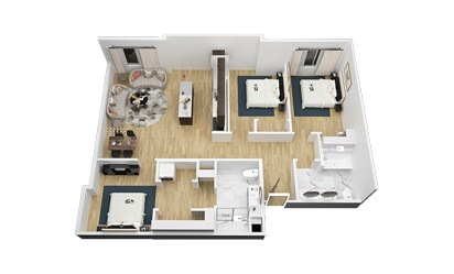 The Willie - 3 bedroom floorplan layout with 2 bath and 1322 square feet