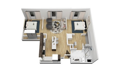 The Zilker - 2 bedroom floorplan layout with 1 bath and 897 square feet
