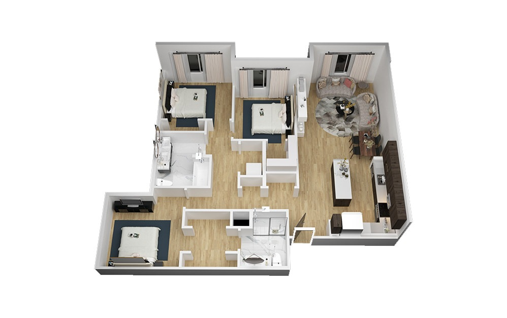 The Moon Tower - 3 bedroom floorplan layout with 2 bath and 1319 square feet (1st floor 2D)
