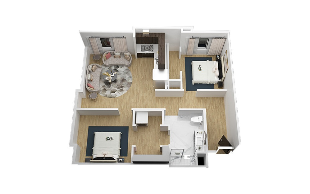 The Paramount - 2 bedroom floorplan layout with 1 bath and 906 square feet (1st floor 2D)