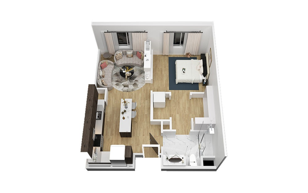 The Pennybacker - 1 bedroom floorplan layout with 1 bath and 685 square feet (1st floor 2D)