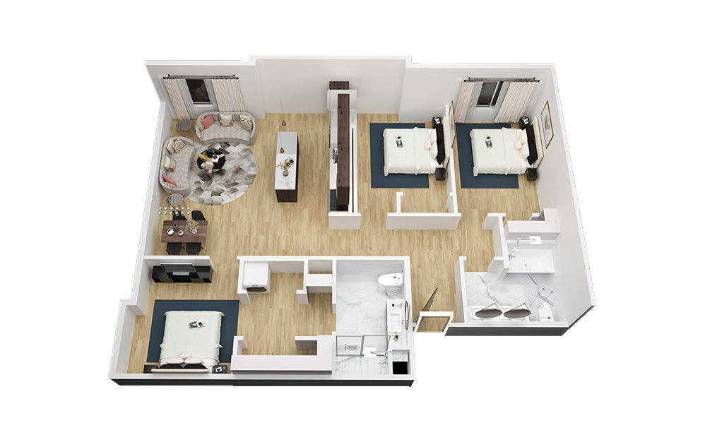 The Willie - 3 bedroom floorplan layout with 2 bath and 1322 square feet (1st floor 2D)