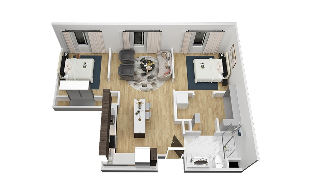The Zilker - 2 bedroom floorplan layout with 1 bath and 897 square feet (1st floor 2D)